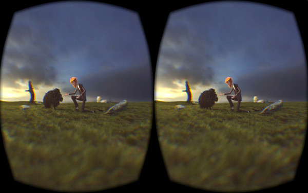 Oculus barrel correction screen shader applied to a view inside the panorama