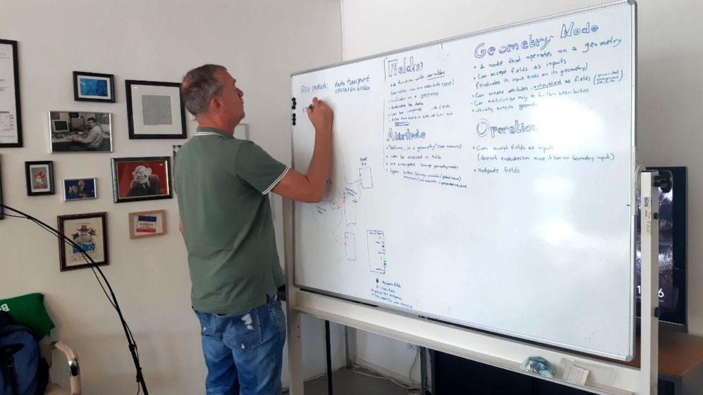 Ton Roosendaal helping to find a story and design to explain the Fields concept.